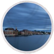 ...the Coolness Of Portsmouth...blue Hour... Round Beach Towel