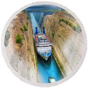 The Corinth Canal  Round Beach Towel