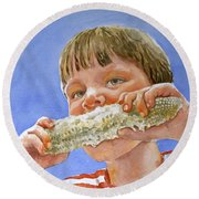 Andrew The Corn Eater Round Beach Towel