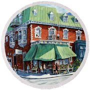 The Corner Market Round Beach Towel