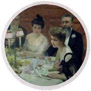 The Corner Of The Table Round Beach Towel by Paul Chabas