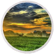 The Cornfield Dawn The Iron Horse Collection Art  Round Beach Towel