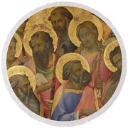 The Coronation Of The Virgin Round Beach Towel by Lorenzo Monaco