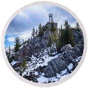 The Cosmic Ray Station Atop Sulphur Mountain, Banff, Canada Round Beach Towel