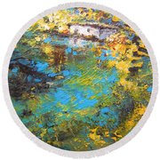The Cottage By The Lagoon Round Beach Towel
