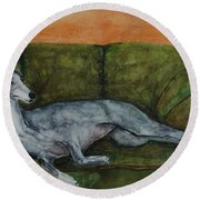 The Couch Potatoe Round Beach Towel by Frances Marino