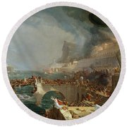 The Course Of Empire - Destruction Round Beach Towel by Thomas Cole