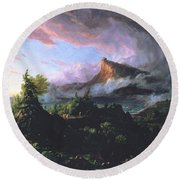 The Course Of Empire - The Savage State Round Beach Towel by Thomas Cole