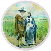 The Courtship Of Miles Standish Round Beach Towel