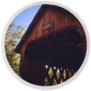 The Covered Bridge Round Beach Towel