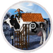 The Cow House Round Beach Towel