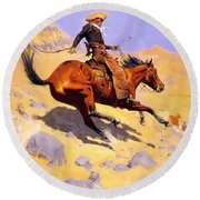 The Cowboy 1902 Round Beach Towel
