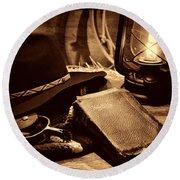 The Cowboy Bible Round Beach Towel