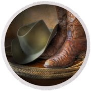 The Cowboy Boots, Hat And Lasso Round Beach Towel