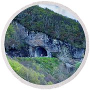 The Craggy Pinnacle Tunnel On The Blue Ridge Parkway In North Ca Round Beach Towel