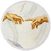 The Creation Of Adam Round Beach Towel