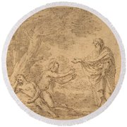 The Creation Of Eve  Round Beach Towel