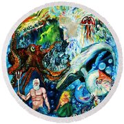 The Creation Of The Ocean Round Beach Towel