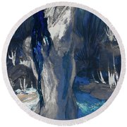 The Creekside Bath Of Alice In Royal Blue Round Beach Towel
