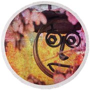 The Creepy All Seeing Bolted Dude Round Beach Towel