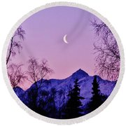The Crescent Moon In Lavender Round Beach Towel