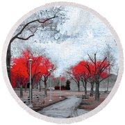 The Crimson Trees Round Beach Towel
