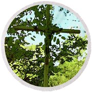 The Cross In Nature Round Beach Towel