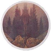The Cross In The Mountains 1812  By Caspar David Friedrich 1774-1840 Round Beach Towel