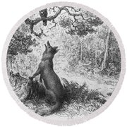 The Crow And The Fox Round Beach Towel by Gustave Dore