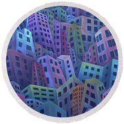 The Crowded City Round Beach Towel