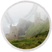 The Crowns In Fog Round Beach Towel