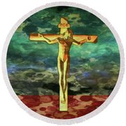 The Crucific Pop Art By Mary Bassett Round Beach Towel