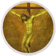 The Crucifixion 1311 Round Beach Towel