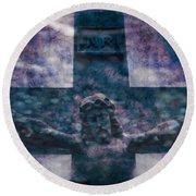 the Crucifixion of Jesus Round Beach Towel