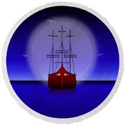 The Crucifixion On The Sea Round Beach Towel