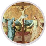 The Crucifixion With The Virgin And St John The Evangelist Round Beach Towel