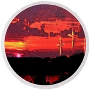 The Crucifixtion Round Beach Towel
