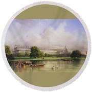 The Crystal Palace Seen From The Serpentine Round Beach Towel