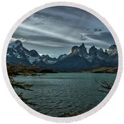The Cuernos And Lake Pehoe #3 - Chile Round Beach Towel