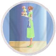 The Cupcake Lady Round Beach Towel