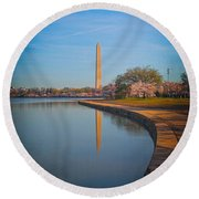 The Curve Of The Basin Round Beach Towel