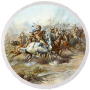 The Custer Fight Round Beach Towel