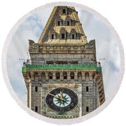 The Customs House Clock Tower Boston Round Beach Towel
