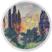 The Cypresses At Cagnes Round Beach Towel by Henri-Edmond Cross