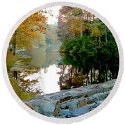 The Dam At Peaks Of Otter Round Beach Towel