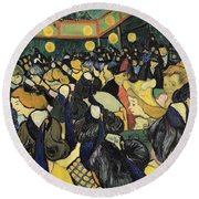 The Dance Hall At Arles Round Beach Towel by Vincent Van Gogh