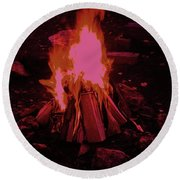 The Dance Of Fire Round Beach Towel