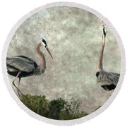 The Dance Of Life - Great Blue Herons In Mating Ritual - Digital Painting Round Beach Towel