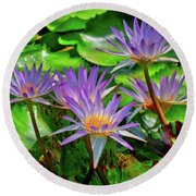The Dance Of The Lillies Round Beach Towel