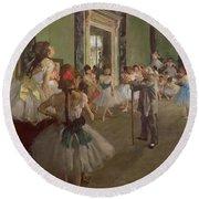 The Dancing Class Round Beach Towel by Edgar Degas